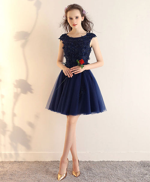 Dark blue lace tulle short prom dress, blue short bridesmaid dress