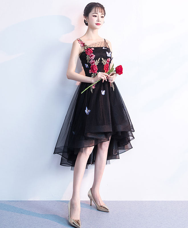 fa448c5a9f37c Cute black tulle lace applique short prom dress, black homecoming dress