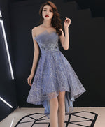 Blue tulle high low prom dress, blue homecoming dress