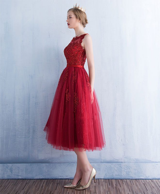 Burgundy round neck tulle lace short prom dress, bridesmaid dress
