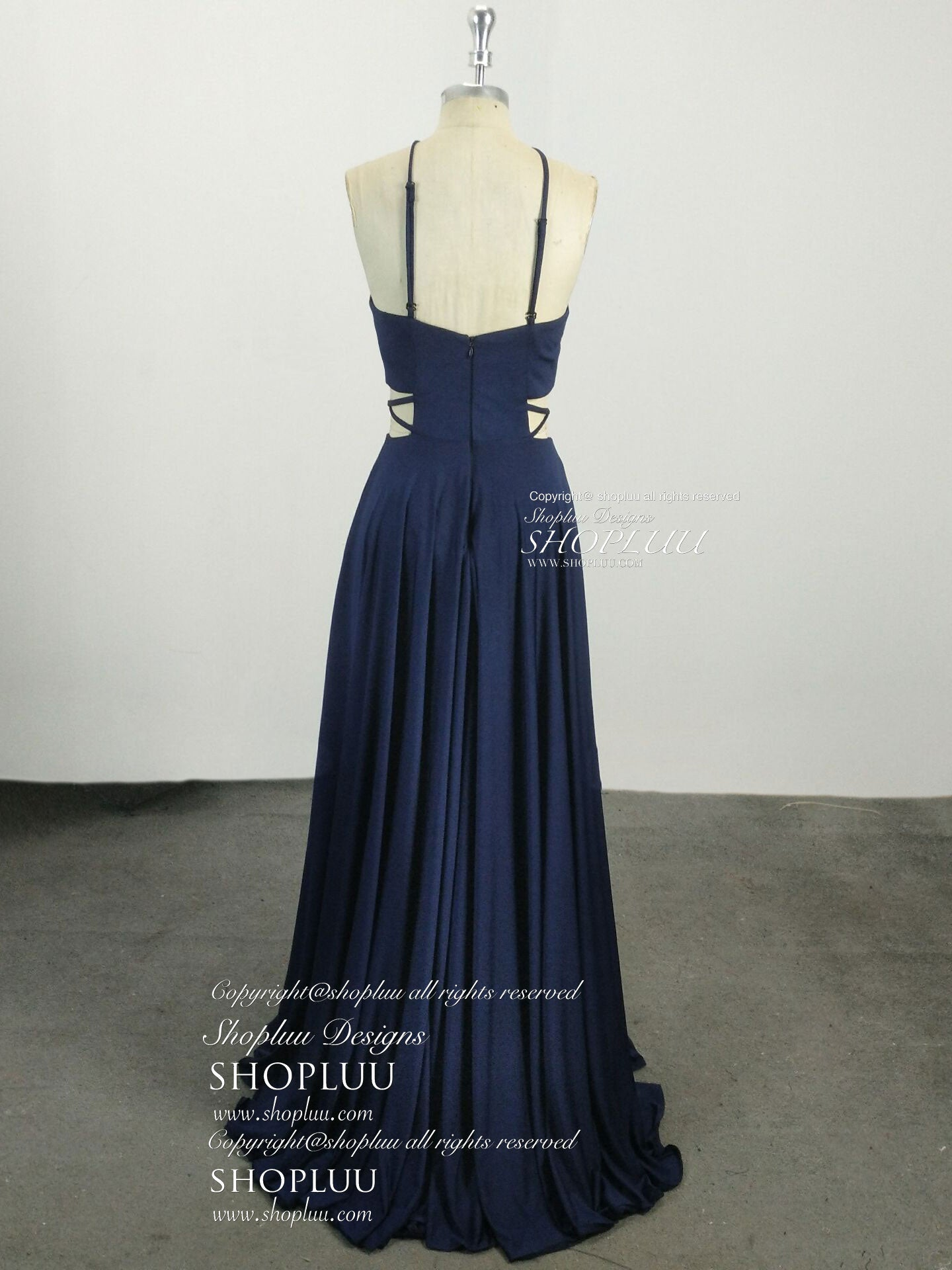 Simple chiffon blue long prom dress, blue evening dress