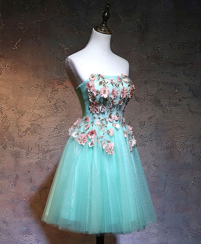 Green tulle lace applique short prom dress