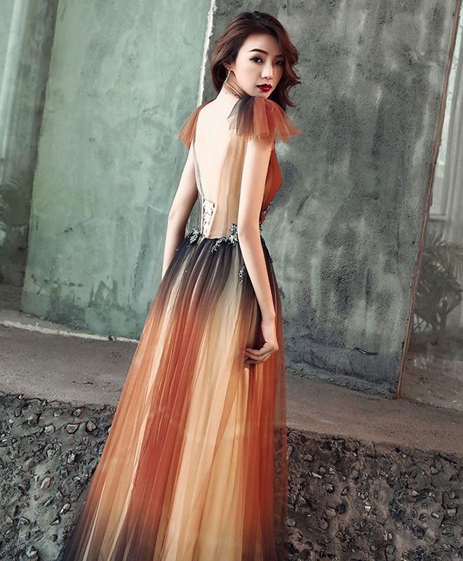 Unique v neck tulle long prom dress, tulle evening dress
