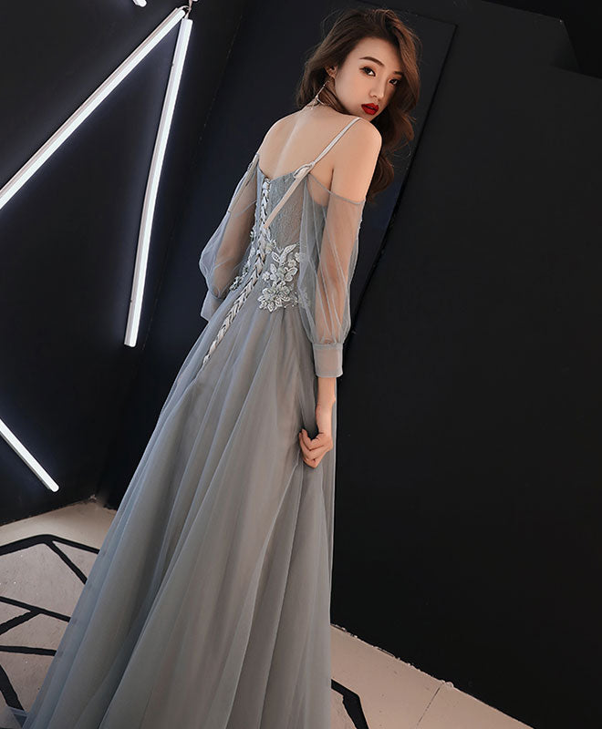 Gray sweetheart A-line tulle lace long prom dress, gray evening dress