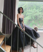 Black tulle short prom dress, black evening dress