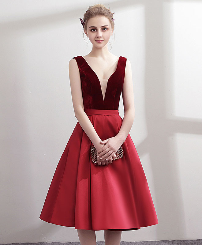 Simple v neck burgundy satin short prom dress, burgundy homecoming dress