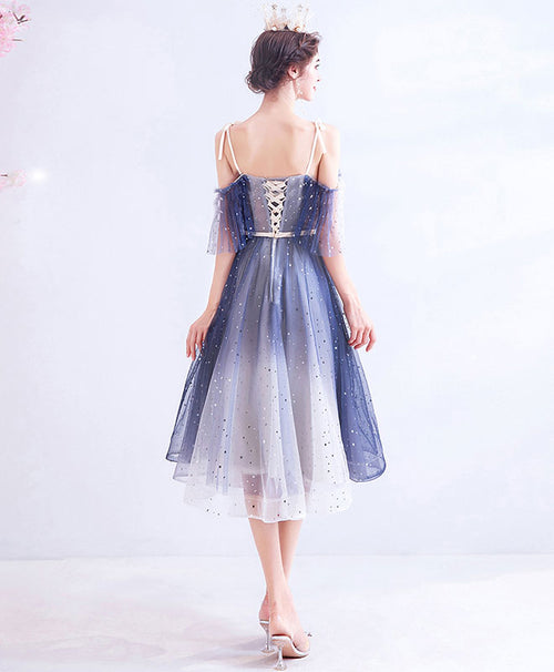 Blue tulle short prom dress blue tulle homecoming dress