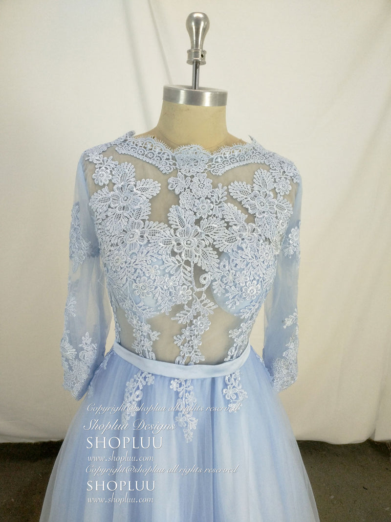 Blue round neck tulle lace long prom dress, blue tulle lace evening dress