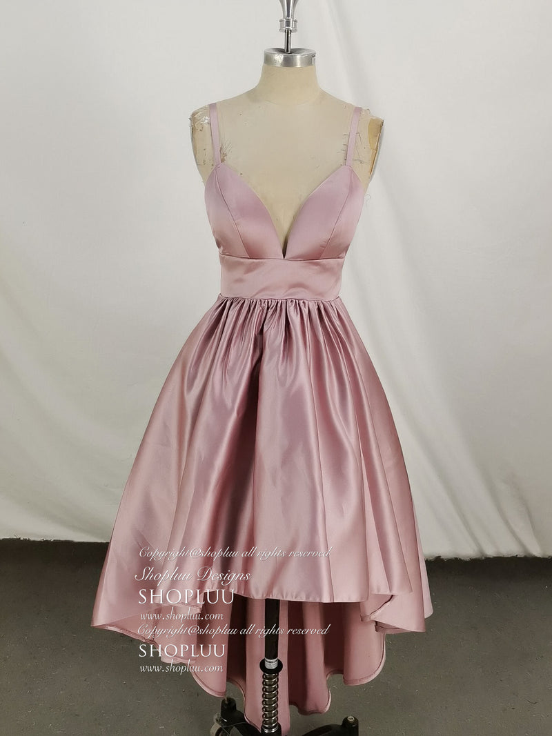 Pink satin high low short prom dress, homecoming dress