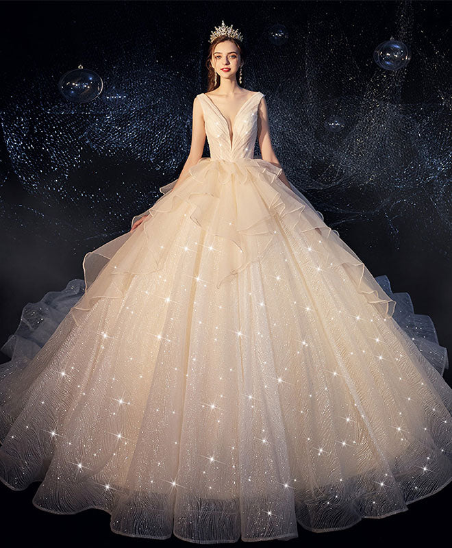 Champagne tulle wedding dress, champagne tulle bridal gown