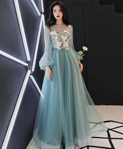 Unique blue tulle embroidery short prom dress, blue evening dress