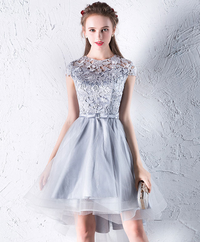 Gray lace tulle short prom dress, gray homecoming dress