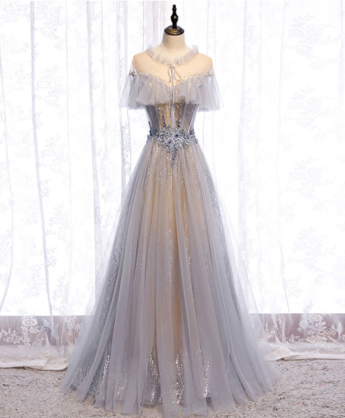 Gray tulle lace long prom dress gray tulle formal dress