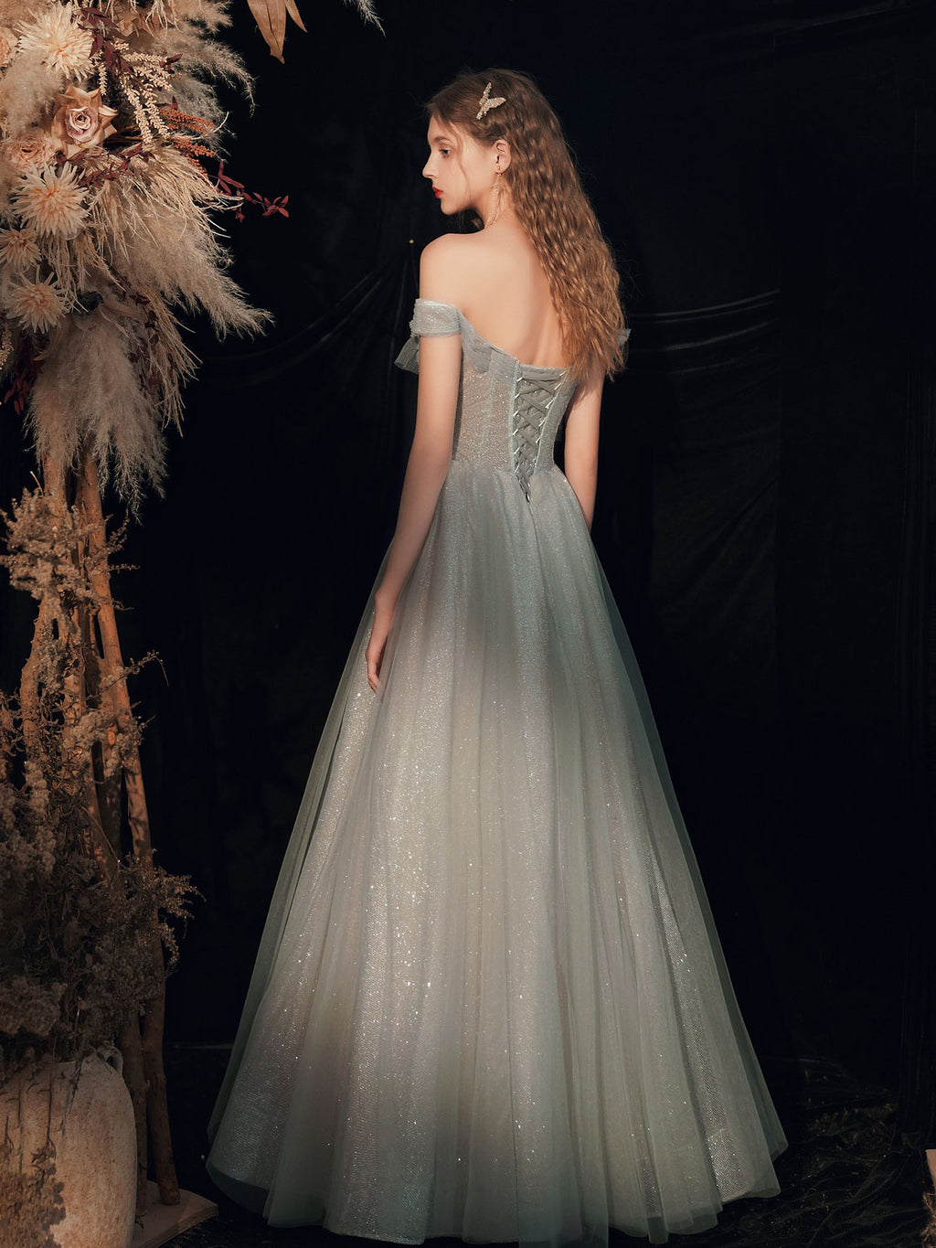 Gray green tulle off shoulder sequin long prom dress tulle formal dress