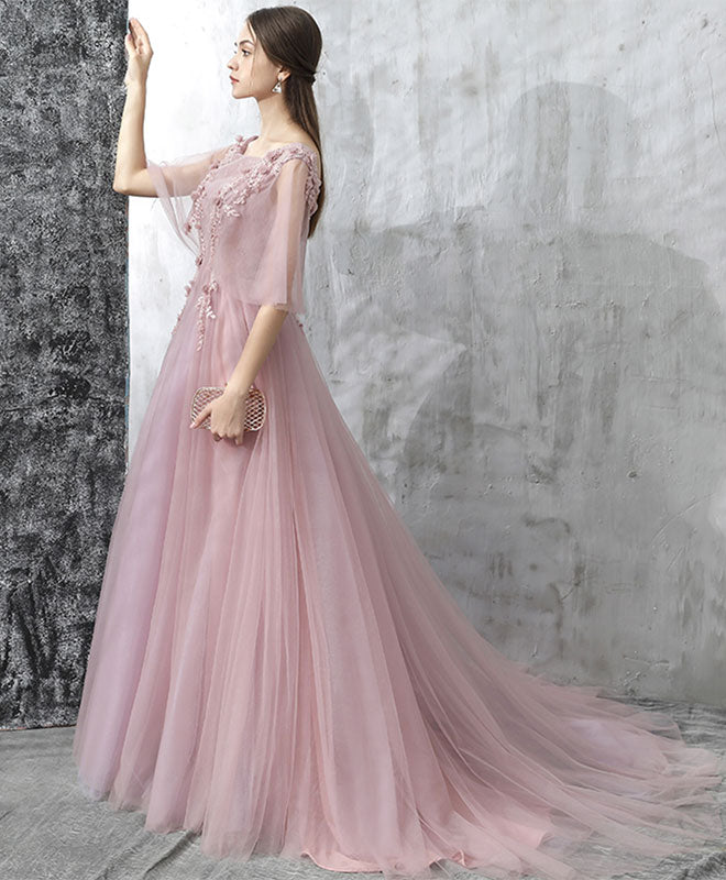 Elegant pink lace tulle long prom dress, tulle evening dress