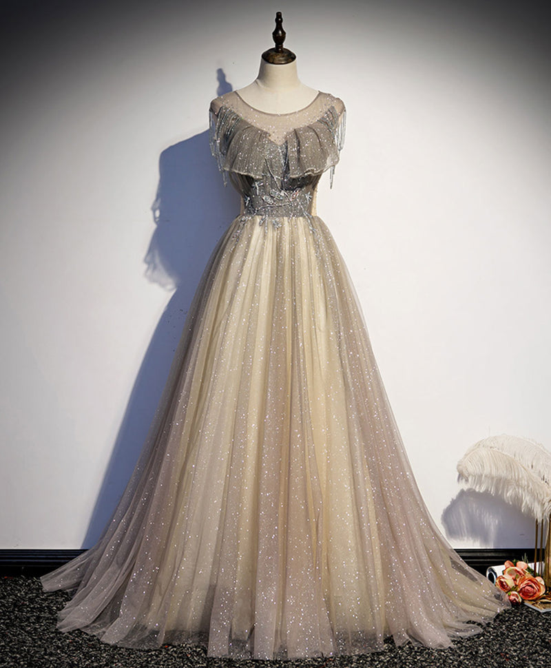 Champagne round neck sequin long prom dress tulle formal dress