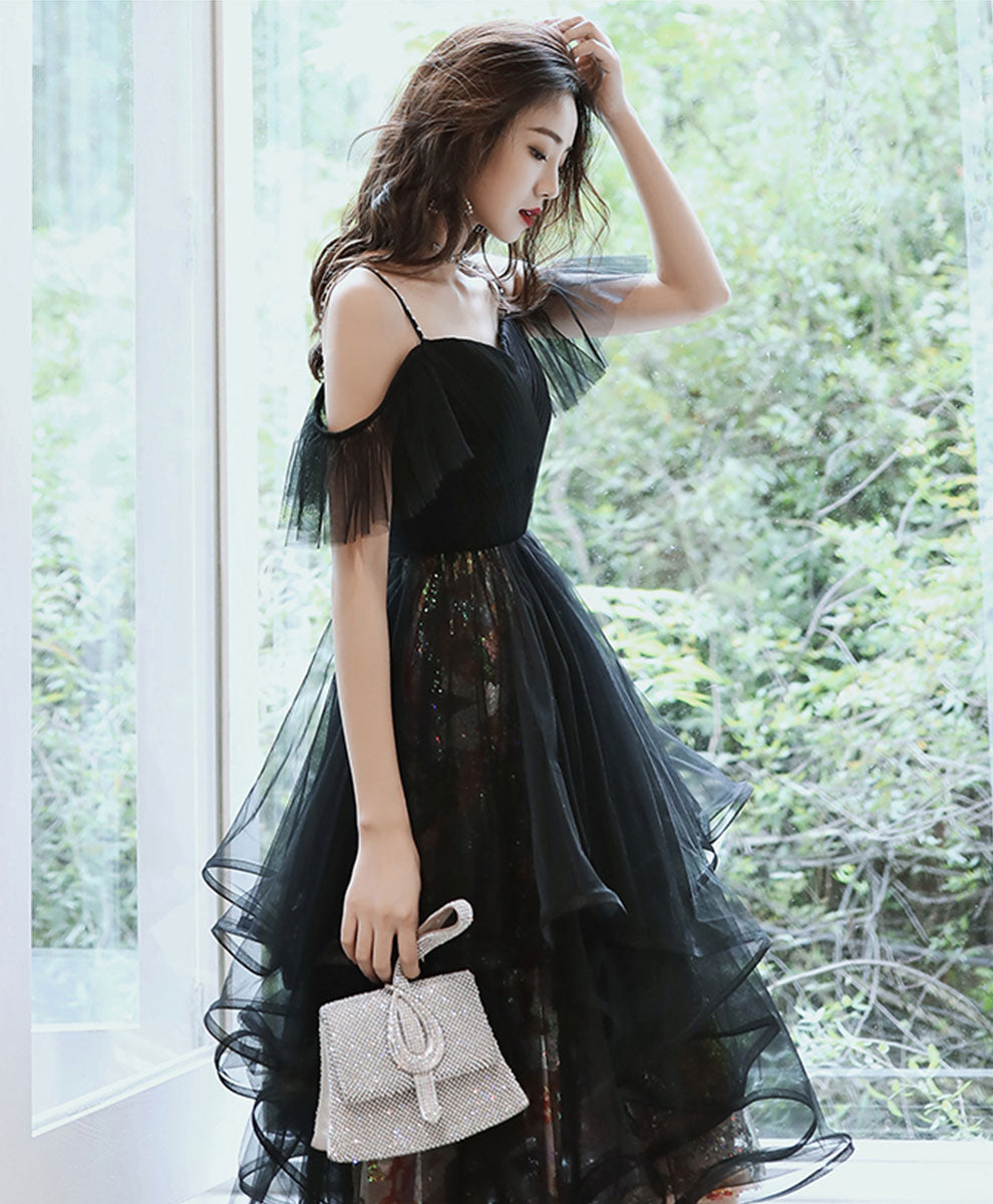 Black tulle short prom dress black homecoming dress