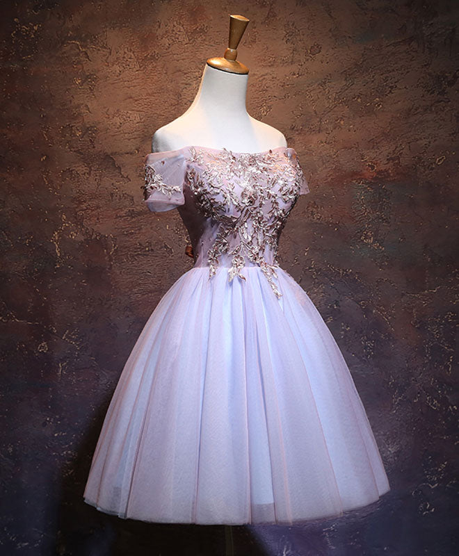 Cute lace applique tulle short prom dress, homecoming dress