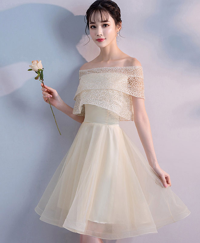champagne tulle short prom dress, champagne homecoming dress
