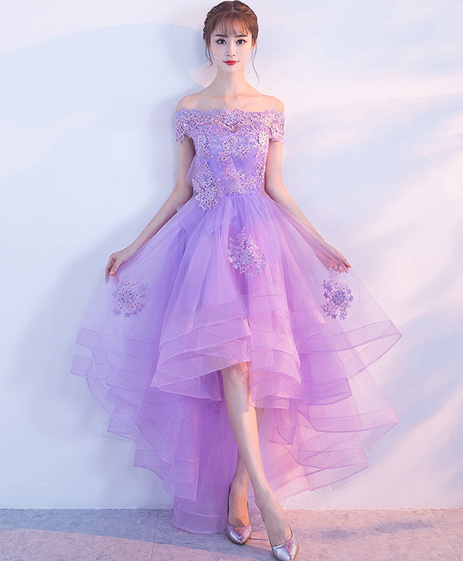 Purple tulle lace applique prom dress, purple homecoming dress