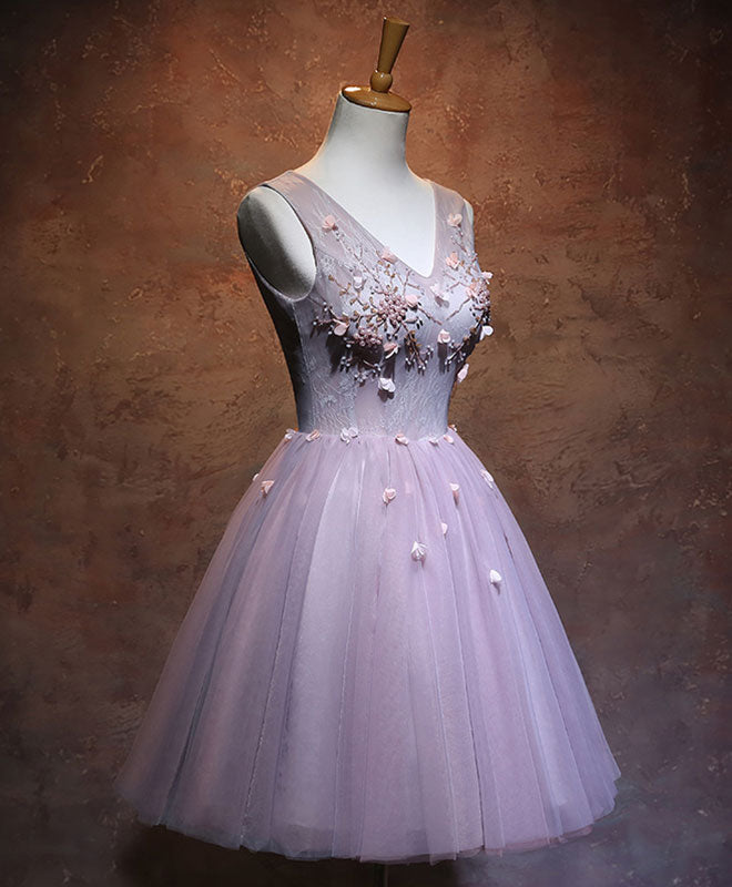 Pink v neck tulle short prom dress, pink homecoming dress