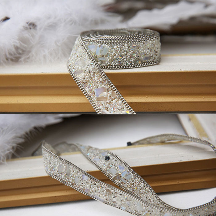 Dark white handmade diamond belt, fashion belt