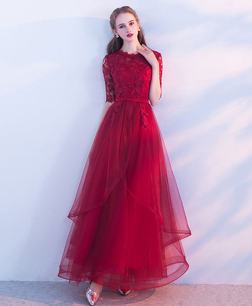Burgundy tulle lace long prom dress, burgundy tulle evening dress