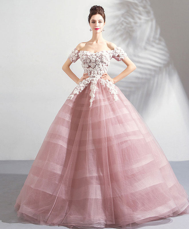 Pink off shoulder lace tulle long prom dress, pink tulle evening dress