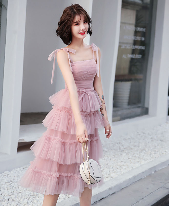 Simple pink tulle short prom dress, pink homecoming dress