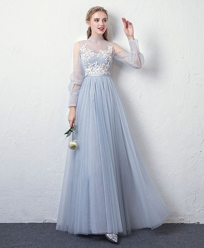 Gray blue tulle lace long prom dress, gray blue tulle evening dress