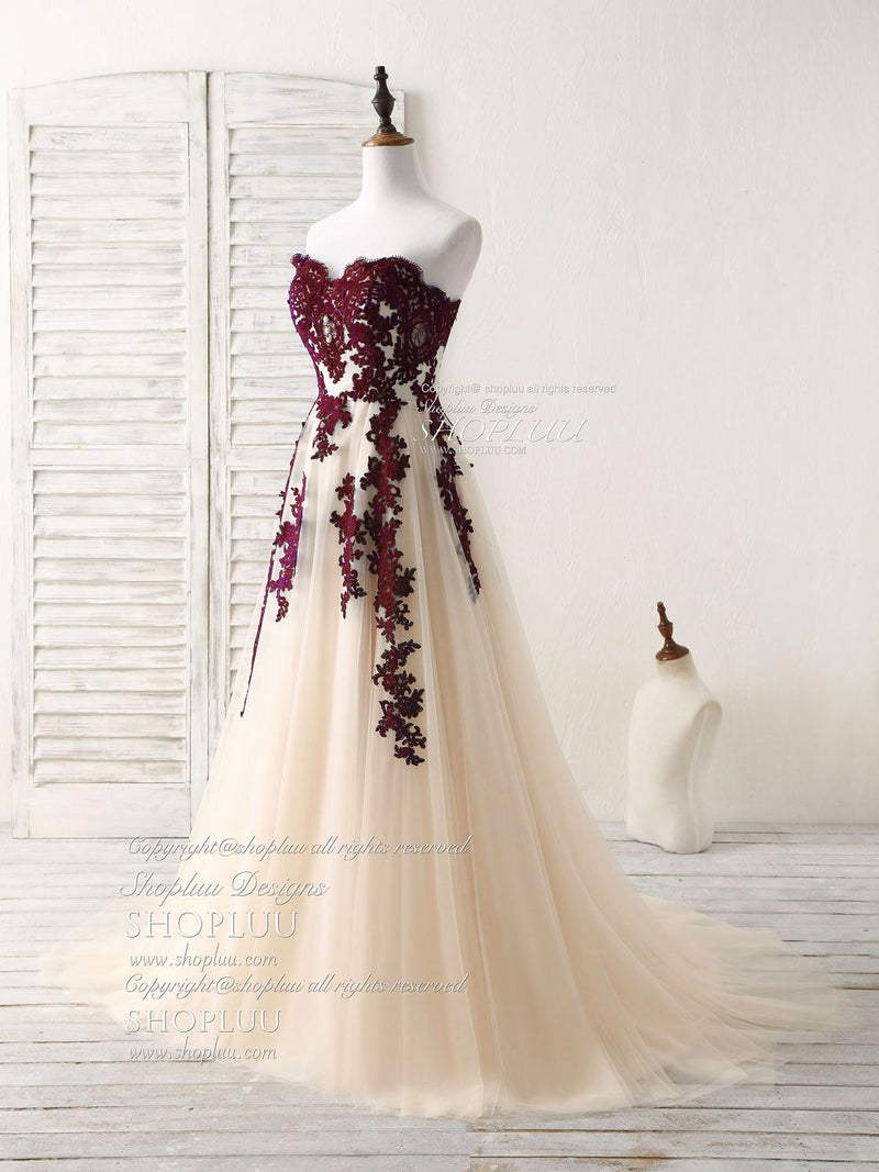 A-line sweetheart tulle lace applique burgundy long prom dress, bridesmaid dress