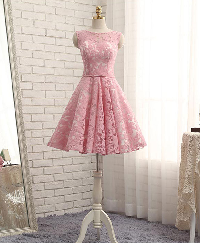 High quality a line lace short prom dress, homecoming dress