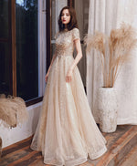 Champagne high neck tulle sequin long prom dress formal  dress