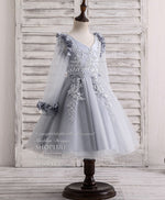 Gray v neck tulle lace applique flower girl dress, tulle baby dress