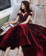 Burgundy sequin tea length prom dress burgundy evening dress