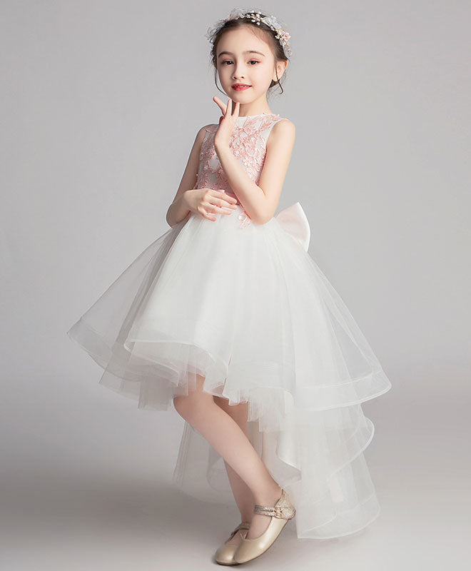 White round neck tulle lace high low prom dress, lace flower girl dress