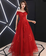 Unique burgundy off shoulder lace long prom dress, tulle lace evening dress