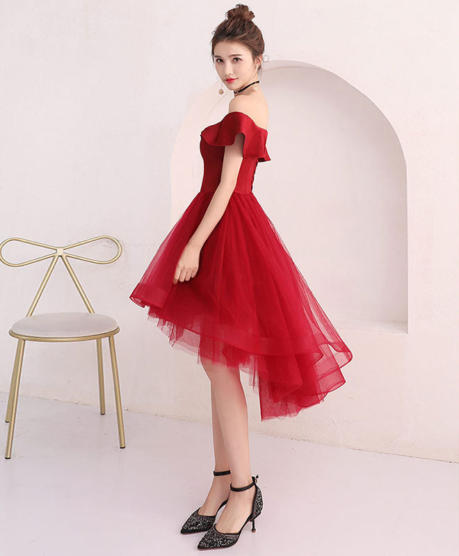 Cute burgundy tulle off shoulder short prom dress, burgundy homecoming dress