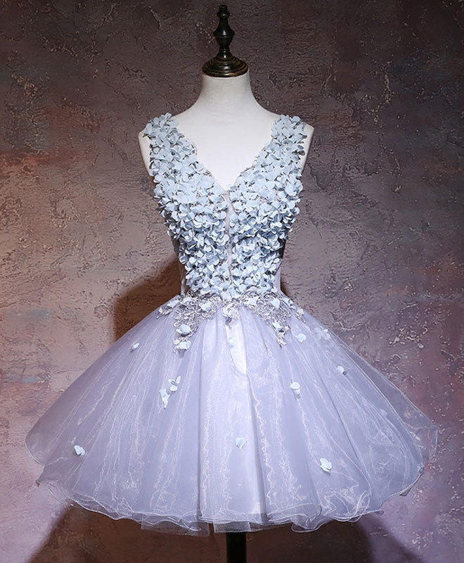 Gray v neck applique short prom dress, homecoming dress