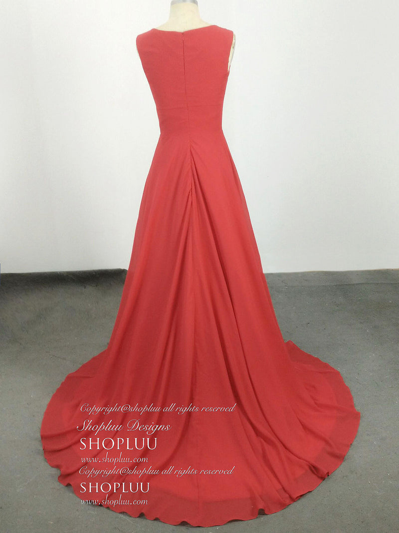 Simple v neck red chiffon long prom dress, red evening dress
