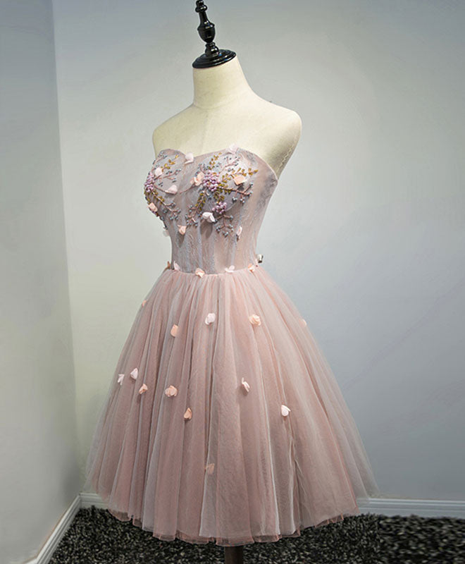 Pink sweetheart neck tulle short prom dress, pink homecoming dress
