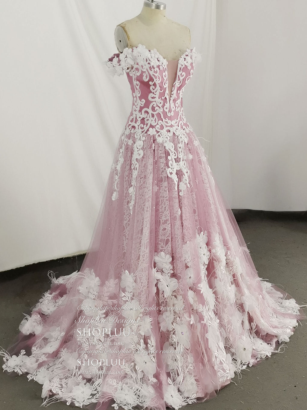 Pink sweetheart neck lace tulle long prom dress, pink lace evening dress