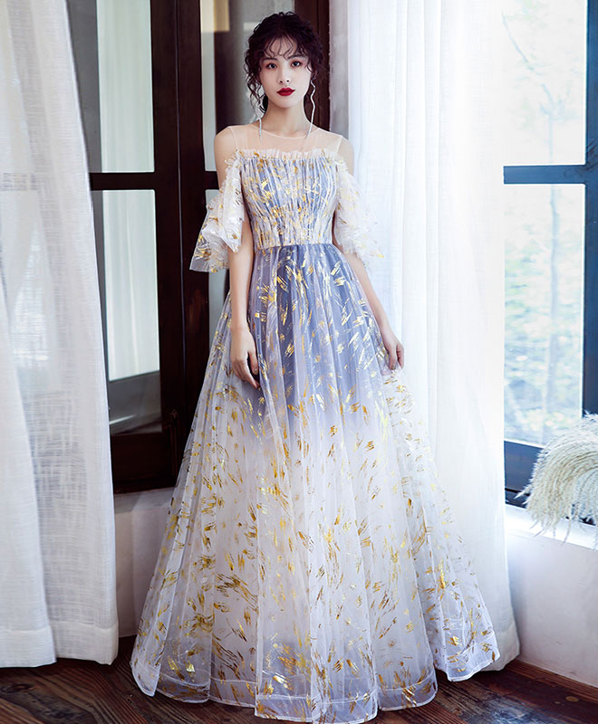 Unique tulle off lace long prom dress tulle formal dress