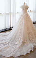 Champagne tulle lace long wedding gown, champagne wedding dress