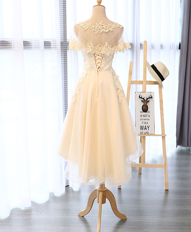 Champagne round neck lace tulle short prom dress, homecoming dress