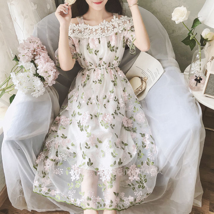 Cute Floral chiffon fashion dress, girl summer dress