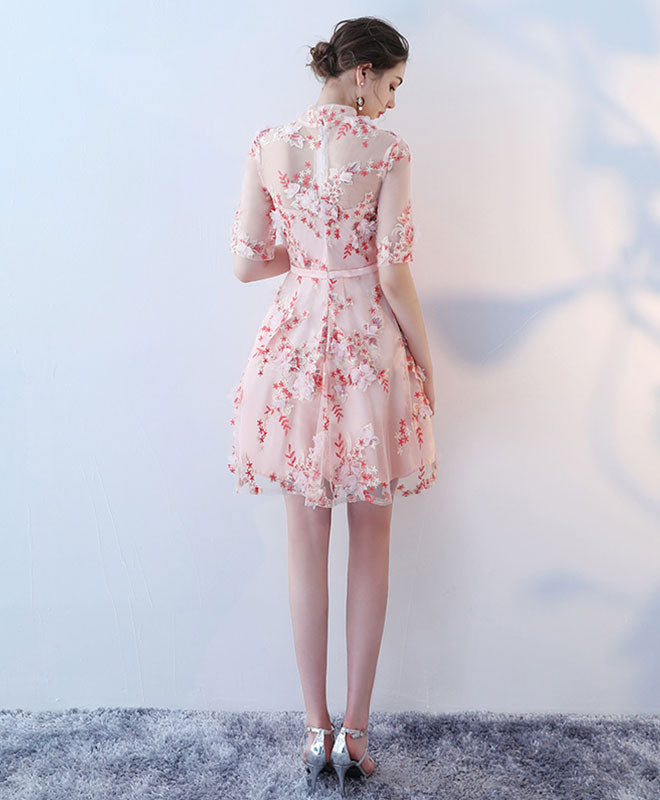 Pink 3D lace short prom dress, pink homecoming dress