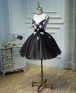 Unique black tulle short prom dress, black homecoming