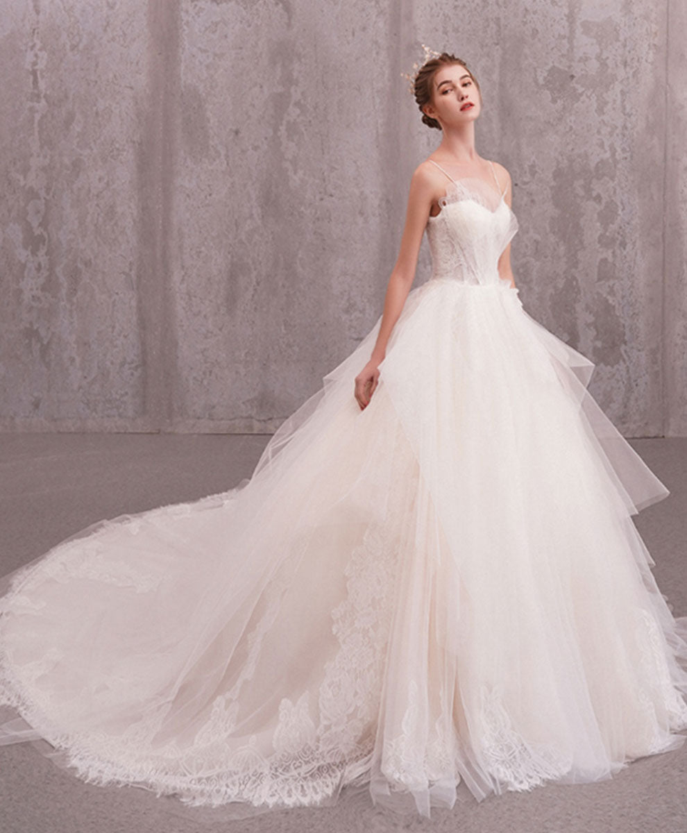 Elegant sweetheart tulle lace long wedding gown bridal dress
