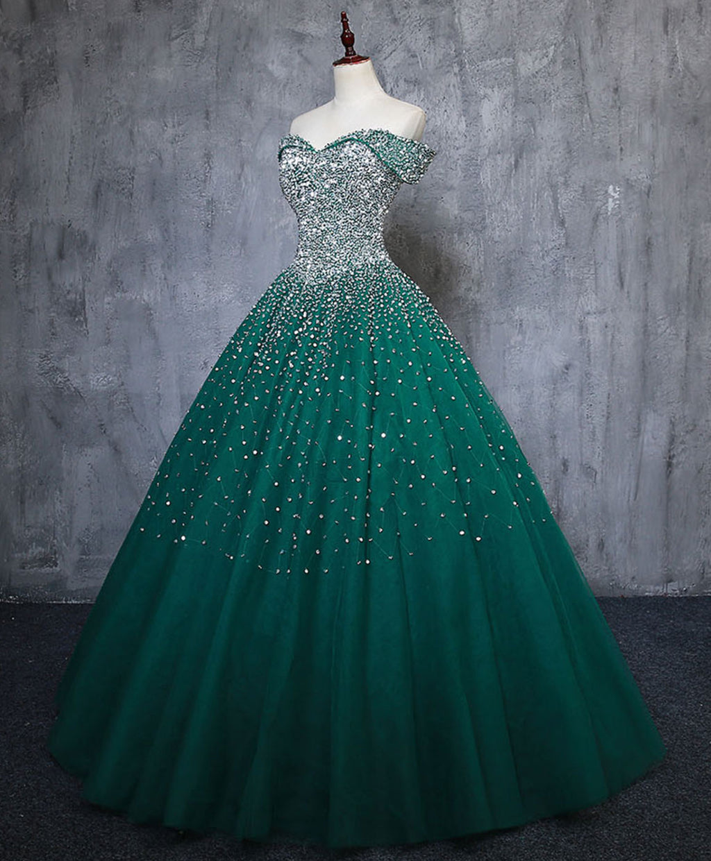 Green tulle sequin long prom gown green sequin sweet 16 dress